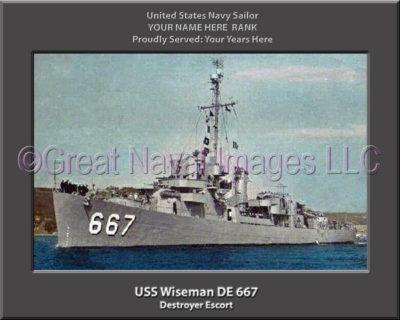 USS Wiseman DE 667 Personalized Navy Ship Photo