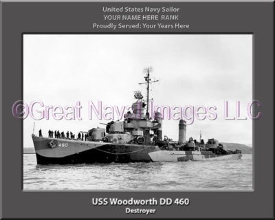 USS Woodworth DD 460 Personalized Navy Ship Photo