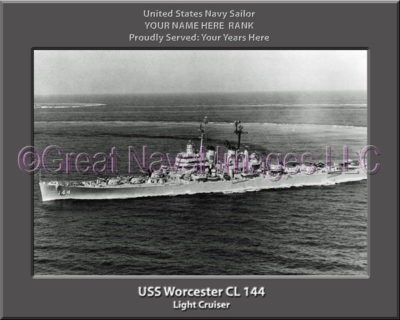 USS Worcester CL 144 Personalized Navy Ship Photo on Canvas
