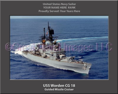 USS Worden CG 18 Personalized Navy Ship Photo on Canvas