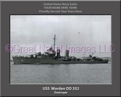 USS Worden DD 352 Personalized Navy Ship Photo