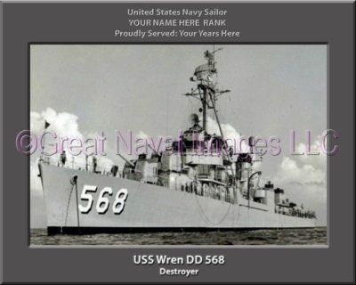 USS Wren DD 568 Personalized Navy Ship Photo