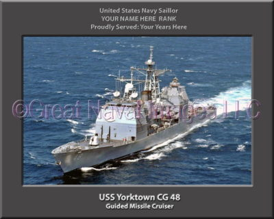 USS Yorktown CG 48 Personalized Navy Ship Photo on Canvas