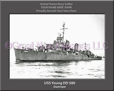 USS Young DD 580 Personalized Navy Ship Photo