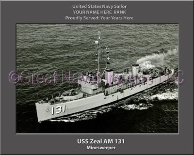 USS Zeal AM 131 Personalized Photo on Canvas