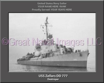 USS Zellars DD 777 Personalized Navy Ship Photo