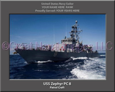 USS Zephyr PC 8 Personalized Navy Ship Photo