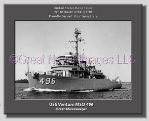 USS Venture MSO 496 Personalized Photo on Canvas