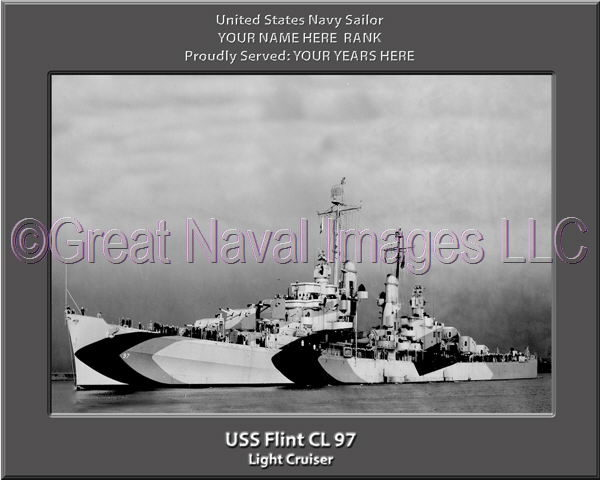 USS Flint CL 97 Personalized Navy Ship Photo Printed on Canvas