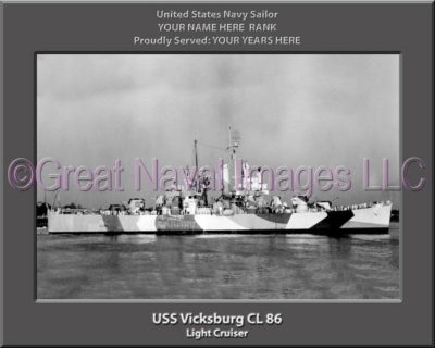 USS Vickburg CL 86 Personalized Navy Ship Photo Printed on Canvas