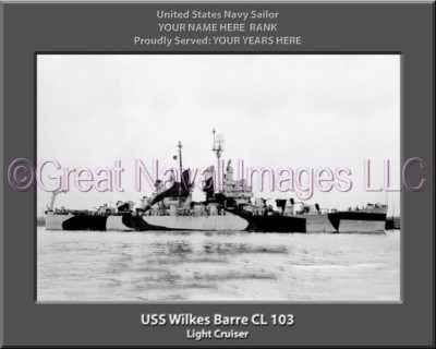 USS Wilkes Barre CL 103 Personalized Navy Ship Photo Printed on Canvas