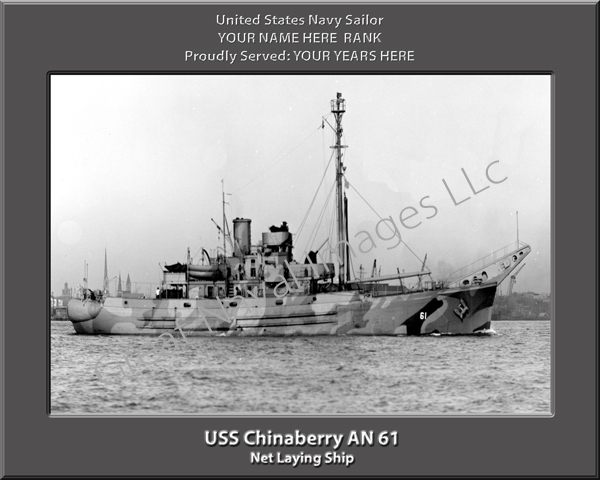 USS Chinaberry AN 61 Personalized Navy Ship Photo