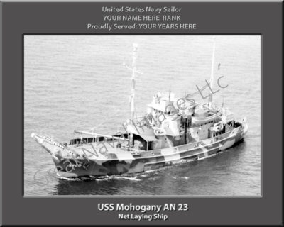 USS Mohogany AN 23 Personalized Navy Ship Photo