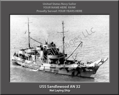 USS Sandlewood AN 32 Personalized Navy Ship Photo