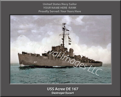 USS Acree DE 167 Personalized Navy Ship Print
