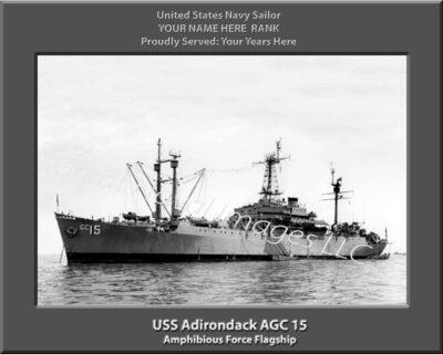 USS Adirondack AGC 15 Personalized Navy Ship Print