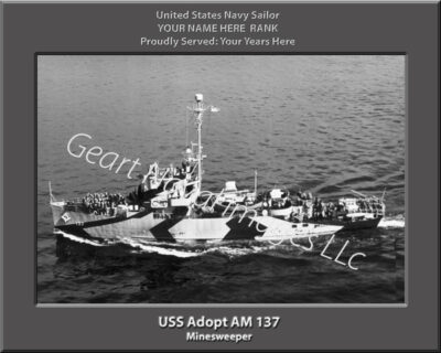 USS Adopt AM 137 Personalized Navy Ship Print