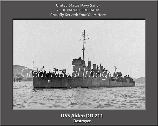USS Alden DD 211 Personalized Navy Ship Print