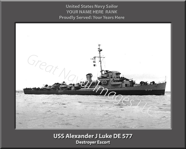 USS Alexander J Luke DE 577 Personalized Navy Ship Print