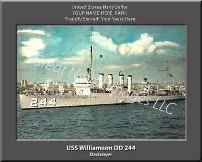 USS Williamson DD 244 Personalized Navy Ship Print